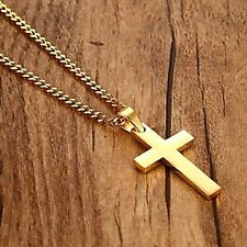 Jewelry Men's Gold Color Stainless Steel Cross Necklace with 24 Inch Chain