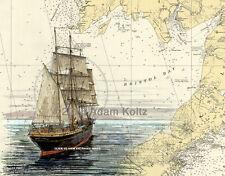 Star of India The Oldest  Sailing Ship Print on Bristol Bay Chart by Adam Koltz