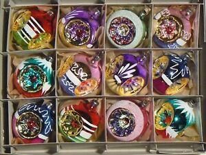 (12) Czech glass vintage mercury style traditional Christmas tree ornaments