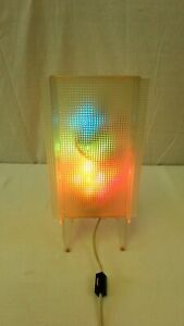 Mid Century Modern Frosted Lucite Side table lamp Multi-Bulb Color Changing