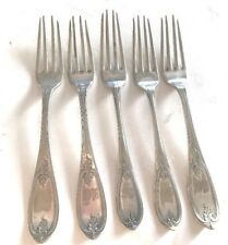 """FIVE 7.5"""" Dinner Forks ROGERS Bros A1 Silverplate estate Antique set Initials"""