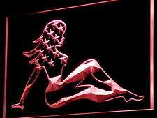 i813-r Sexy Lady Woman US Flag Bar PUb Neon Light Sign