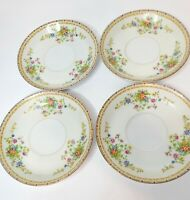 Vintage National China Patricia Japan Floral Saucers W/Out Tea Cups Set of 4