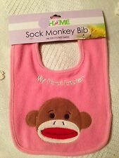 """*New* Sock Monkey Baby Infant Bib """"My First Easter"""" Pink"""