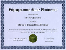 Doctor Hippopotamus Behavior Novelty Diploma Gag Gift