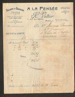 """PARIS (IV°) GRAINES , OIGNONS & SEMENCES """"A LA PENSEE / H. VALTIER"""" en 1921"""