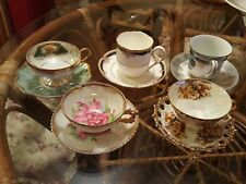 Lot Of 5 Various Tea Cups And Saucers.  Noritake,  Royal Sealy, Norcrest, Napco.