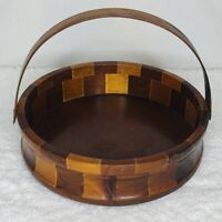 Vintage Wood Bowl with Handle Standard Specialty Co Nuts Fruit Decor USA