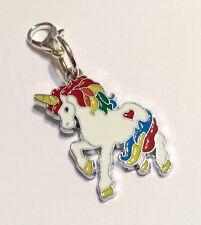 Unicorn Zip Charm Zipper Clip-On Magical Rainbow Handbag Bracelet Enamel Silver