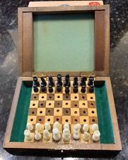 VINTAGE TRAVEL CHESS SET W WOOD BOX MADE IN JAPAN + Vintage Newspaper Clippings