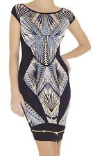 80b3307f9b3c NWT - HERVE LEGER Women s  TABAE TATTOO-JACQUARD  Navy Jacquard DRESS ...