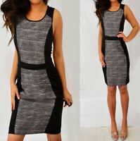 ELLE Black Ivory Striped Sleeveless Color Block Sheath Pencil Dress 10 8 M
