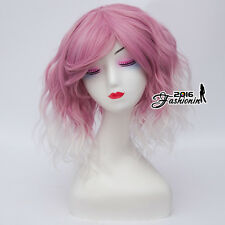 35CM Ombre Lolita Pink Mixed White Medium Bang Curly Cosplay Wig Heat Resistant