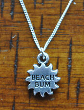 Beach Bum Sun Salt Fishing Surf Life Charm Pendant 925 Sterling Silver Chain