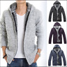 UK Mens Zip Warm Knit Fur Hoody Cardigan Sweater Fur Fleece Jacket Coat Outwear