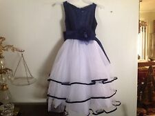 Little Flower Girls Sparkly Dress by Princess Diaries Navy & White SZ 5-6 Beauty