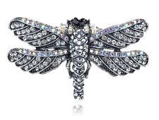Giant Silver Tone Crystal Rhinestone Winged Dragonfly Bug Adjustable Charm Rings