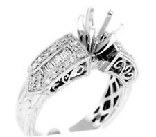 Diamond Engagement Ring Setting 18k White Gold 0.59ct VS1 Baguette