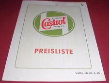 falt blatt alt wakefield regd castrol motor oil preisliste reklame werbung1955