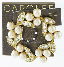NEW CAROLEE New York Adoring Faux Pearl Crystal Wreath Gold-Tone Brooch Pin