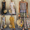 Bohemian Vintage Print Maxi Women Long O-Neck Plus Size Floral Sleeveless Dress