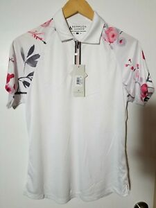 1 NWT BERMUDA SANDS WOMEN'S POLO, SIZE: MEDIUM, COLOR: WHITE/PINK (J184)
