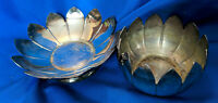 Leonard Silverplate 2 pc Lotus Bowl Candy Dish Candle Holder VTG Floral Nice