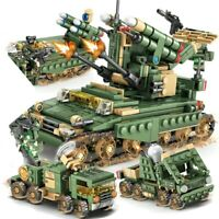 649Pcs  Lego City Military Sherman M4 Tank Building Blocks WW2 Weapon Toys