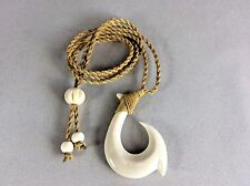 "Hawaiian Fishhook Necklace Carved From Buffalo Bone 2"" tall.With Adjustable cord"