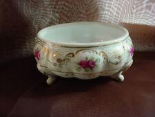 Vtg Footed Vanity Dish Pink Roses White Porcelain