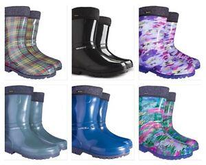 Warm Lining Textile Wellington Boots Womens Ladies Wellies Waterproof Walk Rain