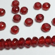 20pcs Cherry Red Czech Glass Rondelle Beads 3x5mm Small Spacers GB405
