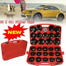 """30Pcs Cup Type Oil Filter Cap Wrench Socket Removal Tool Set W/case 3/8"""" Drive V"""