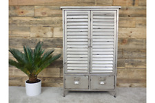 Industrial Distressed Metal Louvre Style Storage Cabinet
