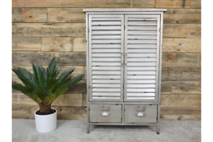 Metal Louvre Style Storage Cabinet with Drawers