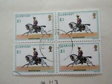 Guernsey 1975, Military uniforms £1 value block of 4 used