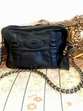 Mulberry Black Leather Bag With Gold & Leather Chain Strap Shoulder Bag