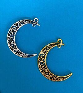 Tibetan Alloy Filigree Crescent Moon Antique Silver Connector Pendants 2 colours