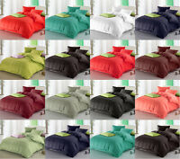 Plain Duvet Cover With Pillow Case Bedding Quilt Set Size Single Double King UK