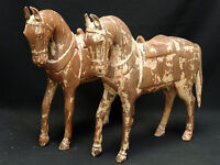 """PAIR LARGE ANTIQUE EARLY 20c CHINESE HORSE WOOD CARVING SCULPTURE ~ 16"""""""