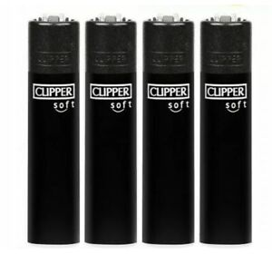 4x SOFT TOUCH CLIPPER LIGHTERS BLACK WITH BLACK TOP Gas Refillable Flint LIGHTER