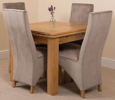 Richmond Small Extending Solid Oak Dining Set Table and 4 Grey Fabric Chairs