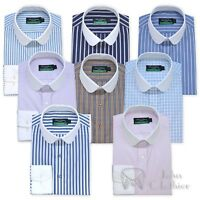Mens Penny collar Banker Cotton shirt Stripes Checks Round collar for Gents Club