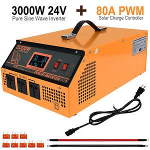 3KW 24V-110V Solar Hybrid Inverter:80A Charge Controller 3KW Off Grid Inverter