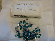 vintage pochette entière de 144 CABOCHON SWAROVSKI bleu zircon 9 mm ANCIEN