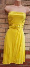 Vestido de fiesta PIMKIE Amarillo Bandeau Acanalada Grecian Lycra una línea Flippy Skater S M
