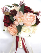 17 piece Wedding Bouquet package Bridal Silk Flowers PEACH BLUSH BURGUNDY WINE