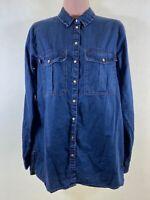RIVER ISLAND dark wash denim wester long sleeve shirt roll up sleeves size 8