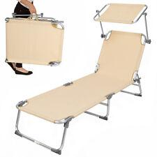 Alu chaise longue de jardin pliante transat bain de soleil + pare soleil beige