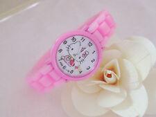 Reloj de Pulsera niños Niñas Analógico De Hello Kitty Rosa Correa De Silicona a Prueba De Agua S